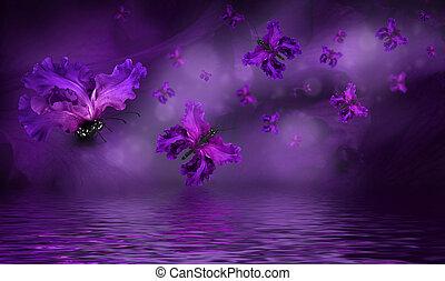 бабочка, удивительно, цветы, фея