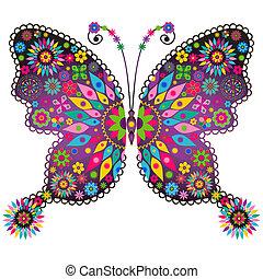 бабочка, фантазия, яркий, марочный
