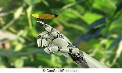 бабочка, robot's, lands, желтый, рука