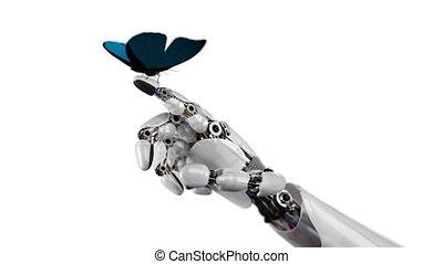 бабочка, robot's, lands, рука