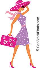 багаж, путешествовать, девушка, красота