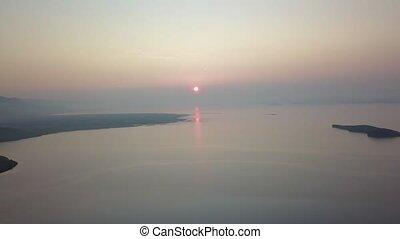 байкал, восход, около, трутень, озеро, лето