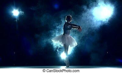 балерина, в, , класс, на, blue., медленный, движение