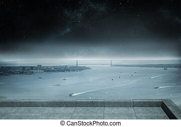балкон, береговая линия, overlooking, ночь