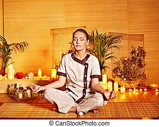 бамбук, массаж, в, спа, and, woman.