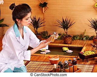 бамбук, массаж, в, spa.