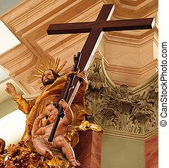 барокко, пересекать, with, христос, and, ангел