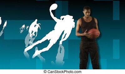 баскетбол, показ, анимация, 3d