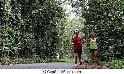 бег, дорога, лес, кауаи, гавайи, пара