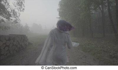 бег, лес, женщина, назад, view.