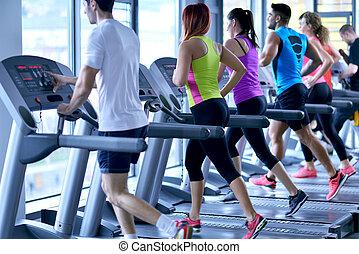 бег, люди, группа, treadmills