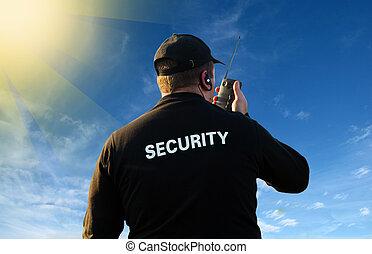 безопасность, назад, сторож