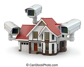 безопасность, cctv, камера, на, , house.