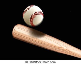 бейсбол, делать ставку, ударять, мяч
