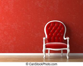 белый, красный, интерьер, дизайн