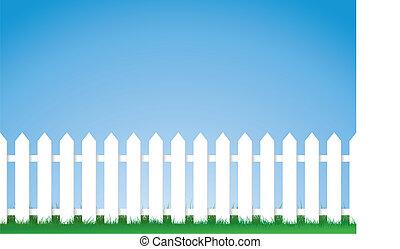 белый, пикет, забор