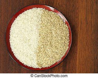 белый, and, коричневый, рис
