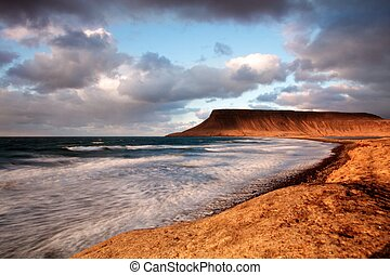 береговая линия, закат солнца, длинный, воздействие