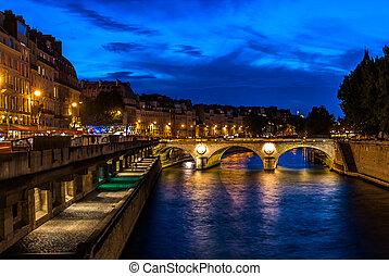 берег, париж, город, франция