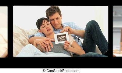 беременная, женщины, монтаж