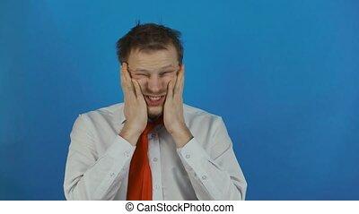 беспечный, бизнесмен, под, стресс, раздраженный, человек,...
