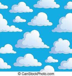бесшовный, задний план, with, clouds, 3