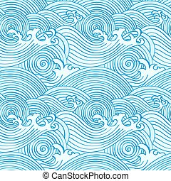 бесшовный, японский, waves