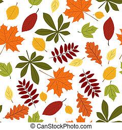 бесшовный, with, осень, leaves