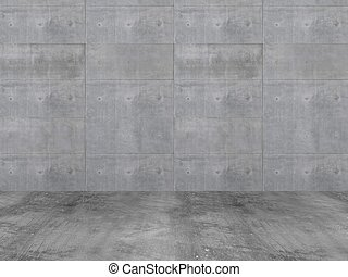 бетон, стена, with, бетон, пол