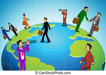 бизнесмен, вокруг, , мир
