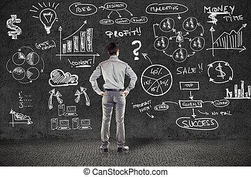 бизнесмен, в, костюм, and, бизнес, план, на, гранж, стена
