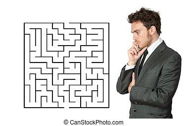 бизнесмен, искать, , solution
