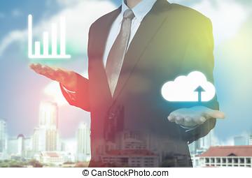 бизнесмен, используемый, облако, оказание услуг