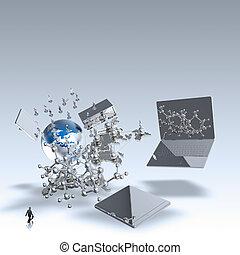 бизнесмен, ищу, в, 3d, все, технологии, of, , мир, в виде, концепция
