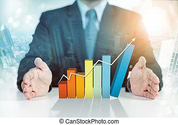 бизнесмен, настоящее время, поднимающийся, график, бизнес, рост, концепция