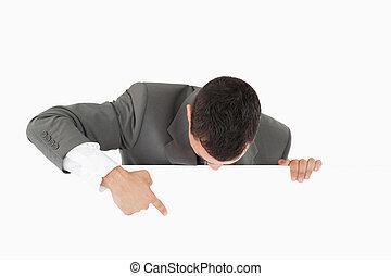бизнесмен, ниже, его, pointing, знак