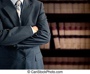 бизнесмен, перед, книжный шкаф