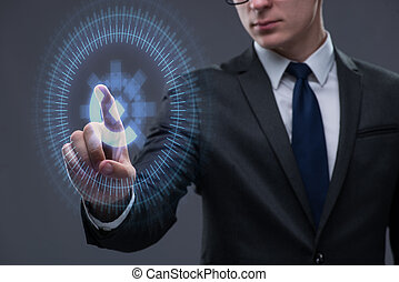 бизнесмен, прессование, виртуальный, buttons, в, футуристический, концепция