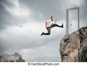 бизнесмен, прыжки, над, , mountains, к, достичь, , дверь