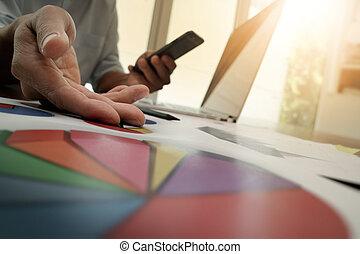 бизнесмен, рука, за работой, with, новый, современное, компьютер, and, бизнес, стратегия, в виде, концепция