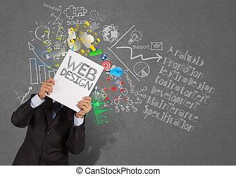 бизнесмен, рука, показать, книга, of, web, дизайн, and, диаграмма, icons, на, текстура, задний план, в виде, концепция