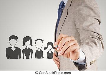 бизнесмен, рука, draws, семья, значок, в виде, страхование, концепция