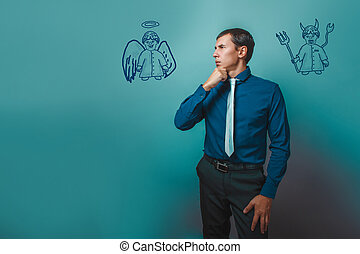бизнесмен, человек, мышление, ищу, далеко, ангел, дьявол, демон, infographics