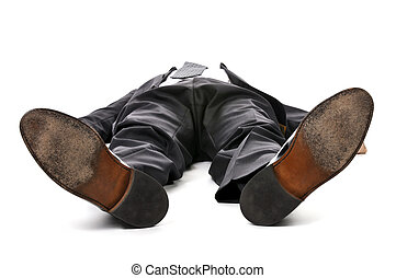 бизнесмен, laying, вниз, на, белый, задний план