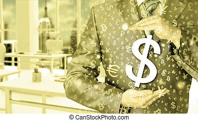 бизнесмен, protecting, доллар, символ
