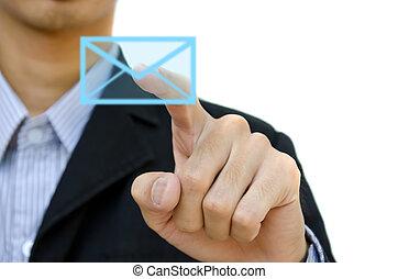 бизнесмен, pushing, почта, для, социальное, сеть, на, , сенсорный экран