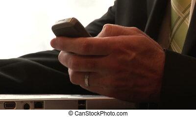 бизнесмен, sending, , текст, в, поезд