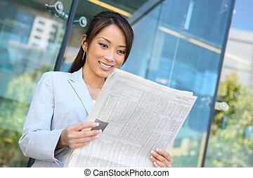 бизнес, женщина, чтение, новости