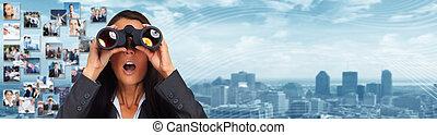 бизнес, женщина, with, binoculars.