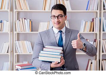 бизнес, закон, студент, with, свая, of, books, за работой, в, библиотека